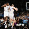 FOR POSSIBLE TAB COVER USE: FIRST REGULAR SEASON WIN / CELEBRATION: Oklahoma City\'s Kevin Durant and Nick Collison celebrate after Collision made a basket with 16.4 seconds left in the fourth quarter during the NBA basketball game between the Oklahoma City Thunder and the Minnesota Timberwolves at the Ford Center in Oklahoma City, Sunday, Nov. 2, 2008. The Thunder won, 88-85. BY NATE BILLINGS, THE OKLAHOMAN ORG XMIT: KOD