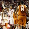 Oklahoma\'s Buddy Hield (3) celebrates in front of Texas\' Julien Lewis (14) during a men\'s college basketball game between the University of Oklahoma and the University of Texas at the Lloyd Noble Center in Norman, Okla., Monday, Jan. 21, 2013. OU won, 73-67. Photo by Nate Billings, The Oklahoman