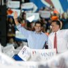 Photo -   Republican presidential candidate Mitt Romney and vice presidential candidate Paul Ryan greet supporters during a campaign rally at the Augusta County Expoland in Fishersville, Va., on Thursday, Oct. 4, 2012. (AP Photo/The Daily News-Record, Stephen Mitchell)