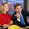 "Photo -   In this photo provided by the ABC Television Network, Katie Couric, left, co-hosts with George Stephanopoulos on ""Good Morning America,"" Monday, April 2, 2012, at the ABC studio in New York. While Robin Roberts is on vacation, Couric returns to morning television as a guest host on GMA. (AP Photo/(ABC, Lou Rocco)"
