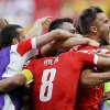 Switzerland\'s Haris Seferovic, right, celebrates after scoring his side\'s second goal during the group E World Cup soccer match between Switzerland and Ecuador at the Estadio Nacional in Brasilia, Brazil, Sunday, June 15, 2014. (AP Photo/Michael Sohn)