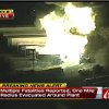 This frame grab provided by WKMG TV shows the fire at the Blue Rhino plant in Tavares City, Fla Tuesday July 30, 2013. A series of major explosions at a Florida gas plant has injured several workers and left others missing. The Orlando Sentinel reported Monday night July 29, 2013, that Tavares City Administrator John Drury said 10 of 24 people working at Blue Rhino, a propane gas plant, have not been accounted for after the blasts. Lake County Sheriff Gary Borders says the blasts occurred inside the plant and blew the roof off. (AP Photo/WKMG TV)