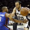 San Antonio\'s Manu Ginobili (20) drives against Oklahoma City\'s Russell Westbrook (0) during Game 5 of the Western Conference Finals between the Oklahoma City Thunder and the San Antonio Spurs in the NBA basketball playoffs at the AT&T Center in San Antonio, Monday, June 4, 2012. The Thunder won, 108-103. Photo by Nate Billings, The Oklahoman