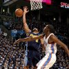 Oklahoma City\'s Kevin Durant (35) blocks Denver\'s Arron Afflalo\'s (6) shot during the NBA basketball game between the Denver Nuggets and the Oklahoma City Thunder in the first round of the NBA playoffs at the Oklahoma City Arena, Wednesday, April 27, 2011. Photo by Sarah Phipps, The Oklahoman