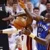Oklahoma City\'s Kendrick Perkins (5) and Miami\'s LeBron James (6) battle for the ball during Game 3 of the NBA Finals between the Oklahoma City Thunder and the Miami Heat at American Airlines Arena, Sunday, June 17, 2012. Photo by Bryan Terry, The Oklahoman