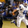 Deer Creek\'s Alec James gets by Guthrie Vincent Norris during the high school football game between Guthrie and Deer Creek at Guthrie, Thursday, Oct. 18, 2012. Photo by Sarah Phipps, The Oklahoman