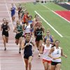 CLASS 5A / CLASS 6A / HIGH SCHOOL TRACK AND FIELD / STATE TOURNAMENT: Girls compete in the 4 x 400 relay during the 5A and 6A state finals track meet at Yukon High School in Yukon, OK, Friday, May 11, 2012, By Paul Hellstern, The Oklahoman