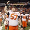 Oklahoma State\'s Chuck Major (57)celebrates the Cowboys\' win over Arizona in the Valero Alamo Bowl at the Alamodome in San Antonio, Texas, Wednesday, December 29, 2010. OSU won, 36-10. Photo by Sarah Phipps, The Oklahoman