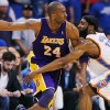 GAME THREE / L.A. LAKERS: Oklahoma City\'s James Harden (13) defends Kobe Bryant (24) of L.A. during the NBA basketball game between the Los Angeles Lakers and the Oklahoma City Thunder in the first round of the NBA playoffs at the Ford Center in Oklahoma City, Thursday, April 22, 2010. Photo by Nate Billings, The Oklahoman ORG XMIT: KOD