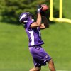 Minnesota Vikings wide receiver Jarius Wright makes a catch during rookie football mini-camp, Friday, May 4, 2012, in Eden Prairie, Minn. Wright was an NFL fourth-round draft pick. (AP Photo/Genevieve Ross)