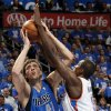 Dallas\' Dirk Nowitzki (41) shoots against Oklahoma City\'s Serge Ibaka (9) during game one of the first round in the NBA playoffs between the Oklahoma City Thunder and the Dallas Mavericks at Chesapeake Energy Arena in Oklahoma City, Saturday, April 28, 2012. Photo by Nate Billings, The Oklahoman