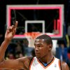 Oklahoma City\'s Kevin Durant salutes the home crowd as he walks off the court following the Thunder game against Philadelphia at the NBA basketball game at the Ford Center in Oklahoma City on Tuesday, Dec. 2, 2009. The Thunder beat the 76ers 117 to 106. By John Clanton, The Oklahoman