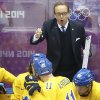 Photo - Sweden head coach Par Marts talks to the team during a break in the action against Finland during the second period of the men's semifinal ice hockey game at the 2014 Winter Olympics, Friday, Feb. 21, 2014, in Sochi, Russia. (AP Photo/Matt Slocum)