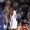 Kevin Durant comes up with a defensive rebound in the second half as the Oklahoma City Thunder plays the Houston Rockets at the Ford Center in Oklahoma City, Okla. on Friday, January 9, 2009. Photo by Steve Sisney/The Oklahoman