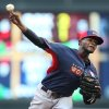 Photo - World's pitcher Domingo German throws a pitch during the second inning of the All-Star Futures baseball game against Team United States, Sunday, July 13, 2014, in Minneapolis. (AP Photo/Jim Mone)