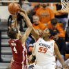 Oklahoma State\'s LaShawn Jones (55) blocks the shot of Oklahoma\'s Nicole Griffin (4) during the Bedlam women\'s college basketball game between Oklahoma State University (OSU) and the University of Oklahoma (OU) at Gallagher-Iba Arena in Stillwater, Okla., Saturday, Feb. 23, 2013. Photo by Nate Billings, The Oklahoman