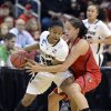 Purdue\'s April Wilson, Left, attempts to keep the ball away from Louisville\'s Shoni Schimmel during the first half of their second round game in the women\'s NCAA college basketball tournament in Louisville, Ky., Tuesday March 26, 2013. (AP Photo/Timothy D. Easley)