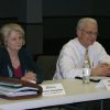 Sharon Humphries from the Oklahoma City-County Health Department and Edmond City Manager Larry Stevens recently participated in an exercise to review the community\'s response in the event of a pandemic flu. Several other agencies participated in the exercise including Edmond Medical Center, University of Central Oklahoma, and Oklahoma Christian University. Community Photo By: Zena Nipper, City of Edmond Submitted By: Claudia, Edmond