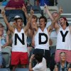 Photo - Supporters of Andy Murray of Britain cheer  during his first round match against Go Soeda of Japan at the Australian Open tennis championship in Melbourne, Australia, Tuesday, Jan. 14, 2014.(AP Photo/Rick Rycroft)