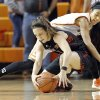 Oklahoma State\'s Tiffany Bias (3) and Marina Lizarazu (1) fight for a loose ball tduring the women\'s college basketball game between Oklahoma State and Texas Tech at Gallagher-Iba Arena in Stillwater, Okla., , Saturday, Jan. 18, 2014. Photo by Sarah Phipps, The Oklahoman