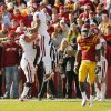 Oklahoma\'s Kenny Stills (4) and Gabe Ikard (64) celebrate a touchdown by Stills in the fourth quarter during a college football game between the University of Oklahoma (OU) and Iowa State University (ISU) at Jack Trice Stadium in Ames, Iowa, Saturday, Nov. 3, 2012. OU won, 35-20. Photo by Nate Billings, The Oklahoman