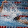 Edmond North\'s Ally Robertson swims in the Girls 200 yard IM during the 6A state championship swim meet at Oklahoma City Community College, Saturday, Feb. 18, 2012. Photo by Sarah Phipps, The Oklahoman