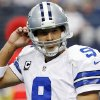 Dallas Cowboys quarterback Tony Romo (9) leaves the field after throwing an interception against the Tampa Bay Buccaneers during the first half of an NFL football game, Sunday, Sept. 23, 2012 in Arlington, Texas. (AP Photo/Tony Gutierrez)
