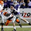 Kansas State\'s Collin Klein (7) avoids the Oklahoma State rush during the college football game between the Oklahoma State University Cowboys (OSU) and the Kansas State University Wildcats (KSU) at Bill Snyder Family Football Stadium on Saturday, Nov. 1, 2012, in Manhattan, Kan. Photo by Chris Landsberger, The Oklahoman