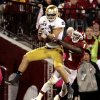 Notre Dame tight end Tyler Eifert (80) catches a ball inside the five in front of Oklahoma defensive back Tony Jefferson (1) in the final minutes of the college football game where the University of Oklahoma Sooners (OU) were defeated by the Fighting Irish of Notre Dame (ND) 30-13 at Gaylord Family-Oklahoma Memorial Stadium in Norman, Okla., on Saturday, Oct. 27, 2012. Photo by Steve Sisney, The Oklahoman