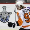 Philadelphia Flyers\' Jakub Voracek celebrates his overtime goal during Game 1 of an opening-round NHL hockey playoff series against the Pittsburgh Penguins on Wednesday, April 11, 2012 in Pittsburgh. The Flyers won 4-3. (AP Photo/Gene J. Puskar)