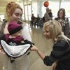 Jami Marek and one-year-old daughter Eaden are greeted by HealthPlex nurse Kristi Robinett at The Norman Regional HealthPlex Birthday Bash on Thursday, October 28, 2010, in Norman, Okla. Eaden was the first admission to the NICU on opening day. Photo by Steve Sisney, The Oklahoman