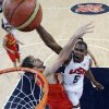 United States\' Kevin Durant (5) slam dunks to score over Spain\'s Pau Gasol, left, during the men\'s gold medal basketball game at the 2012 Summer Olympics, Sunday, Aug. 12, 2012, in London. (AP Photo/Eric Gay, pool)