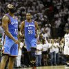 James Harden (13) reacts after making a 3-point shot late in the fourth quarter as Kevin Durant (35) runs to him to celebrate during Game 5 of the Western Conference Finals between the Oklahoma City Thunder and the San Antonio Spurs in the NBA basketball playoffs at the AT&T Center in San Antonio, Monday, June 4, 2012. The Thunder won, 108-103. Photo by Nate Billings, The Oklahoman