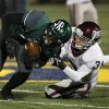 Memorial\'s Sam Kreutzer (3) takes down Santa Fe\'s Trevan Smith (2) during a high school football game between Edmond Memorial and Edmond Santa Fe at Wantland Stadium in Edmond, Okla., Friday, Oct. 26, 2012. Photo by Garett Fisbeck, The Oklahoman