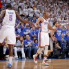 Oklahoma City\'s Russell Westbrook (0) celebrates with Oklahoma City\'s Kendrick Perkins (5) during Game 4 of the Western Conference Finals between the Oklahoma City Thunder and the San Antonio Spurs in the NBA playoffs at the Chesapeake Energy Arena in Oklahoma City, Saturday, June 2, 2012. Oklahoma CIty won 109-103. Photo by Bryan Terry, The Oklahoman