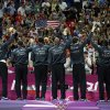 Members of the United States\' men\'s basketball team celebrate after winning the gold medal against Spain at the 2012 Summer Olympics, Sunday, Aug. 12, 2012, in London. (AP Photo/Charles Krupa)