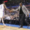 Kevin Durant slaps hands with Oklahoma City\'s Perry Jones (3) as he comes off the court during the season finally NBA basketball game between the Oklahoma City Thunder and the Milwaukee Bucks at Chesapeake Energy Arena on Wednesday, April 17, 2013, in Oklahoma City, Okla. Photo by Chris Landsberger, The Oklahoman