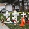 Photo -   A makeshift memorial is seen outside a home in Naperville, Ill., Thursday, Nov. 1, 2012, where two children were found stabbed to death on Tuesday, Oct. 30. Elzbieta Plackowska was accused Thursday of stabbing her 7-year-old son 100 times and a 5-year-old girl she was babysitting about 50 times. (AP Photo/M. Spencer Green)