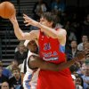 Oklahoma City\'s Serge Ibaka (9) defends CSKA Moscow\'s Boban Marjanovic (22) during the preseason NBA basketball game between the Oklahoma City Thunder and CSKA Moscow in Oklahoma City, Thursday, October 14, 2010. Photo by Bryan Terry, The Oklahoman