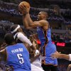 Oklahoma City\'s Russell Westbrook (0) goes to the basket during Game 4 of the first round in the NBA playoffs between the Oklahoma City Thunder and the Dallas Mavericks at American Airlines Center in Dallas, Saturday, May 5, 2012. Photo by Bryan Terry, The Oklahoman