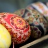 Various painted Easter eggs are displayed at an exhibition at the European Commission headquarters in Brussels, Thursday, March 29, 2012. (AP Photo/Yves Logghe)