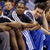From left, Oklahoma City\'s Serge Ibaka (9), Kevin Durant (35), Nick Collison (4) and Kevin Martin (23) watch from the bench in the fourth quarter during an NBA basketball game between the Oklahoma City Thunder and Charlotte Bobcats at Chesapeake Energy Arena in Oklahoma City, Monday, Nov. 26, 2012. Oklahoma City won, 114-69. Photo by Nate Billings , The Oklahoman