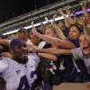 CELEBRATION: Kansas State\'s Meshak Williams (42) celebrates the 24-19 win over Oklahoma with the Wildcat fans during the college football game between the University of Oklahoma Sooners (OU) and the Kansas State University Wildcats (KSU) at the Gaylord Family-Oklahoma Memorial Stadium on Saturday, Sept. 22, 2012, in Norman, Okla. Photo by Chris Landsberger, The Oklahoman