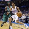 Oklahoma City\'s Jeremy Lamb (11) tries to get by Boston\'s Gerald Wallace (45) during the NBA game between the Oklahoma City Thunder and the Boston Celtics at the Chesapeake Energy Arena., Sunday, Jan. 5, 2014. Photo by Sarah Phipps, The Oklahoman