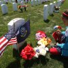 Photo -   Jackelynn Freund, 8, of San Diego, honors her grandmother, U.S. Navy veteran Jessie Coats, at her gravestone during a Memorial Day ceremony at the new Miramar National Cemetery in San Diego, Sunday, May 27, 2012. (AP Photo/Los Angeles Times, Allen J. Schaben) NO FORNS; NO SALES; MAGS OUT; ORANGE COUNTY REGISTER OUT; LOS ANGELES DAILY NEWS OUT; VENTURA COUNTY STAR OUT; INLAND VALLEY DAILY BULLETIN OUT; SAN BERNARDINO SUN OUT; MANDATORY CREDIT, TV OUT