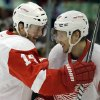 Detroit Red Wings\' Damien Brunner (24), right, celebrates with teammate Gustav Nyquist (14) after scoring a goal against the Chicago Blackhawks during the first period of Game 1 of an NHL hockey playoffs Western Conference semifinal in Chicago, Wednesday, May 15, 2013. (AP Photo/Nam Y. Huh)