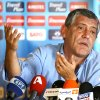 Photo -   Greece coach Fernando Santos of Portugal speaks during a news conference in Athens, Thursday, May 17, 2012. Santos named his 25-man roster from a provisional squad for the June 8-July 1 European Championships, keeping young players in his selection for the tournament in Poland and Ukraine. (AP Photo) **GREECE OUT**