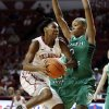 Oklahoma\'s Sharane Campbell (24) drives past North Texas\' Braylah Blakely (2) as the University of Oklahoma Sooners (OU) play the North Texas Mean Green in NCAA, women\'s college basketball at The Lloyd Noble Center on Thursday, Dec. 6, 2012 in Norman, Okla. Photo by Steve Sisney, The Oklahoman