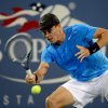 Photo -   Tomas Berdych of the Czech Republic, returns a shot to Sam Querrey during the third round of play at the U.S. Open tennis tournament, Saturday, Sept. 1, 2012, in New York. (AP Photo/Henny Ray Abrams)