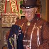 Ronny Smithee of Harrah shows a breechcloth made by Woodlands Indians of the Great Lakes area. The breechcloth has a symetrical design in a mirror-image and is embroidered in brilliant colors. Smithee showed some of his collection of Native American artifacts to the Harrah Historical Society recently Community Photo By: Lin Archer Submitted By: Lin,